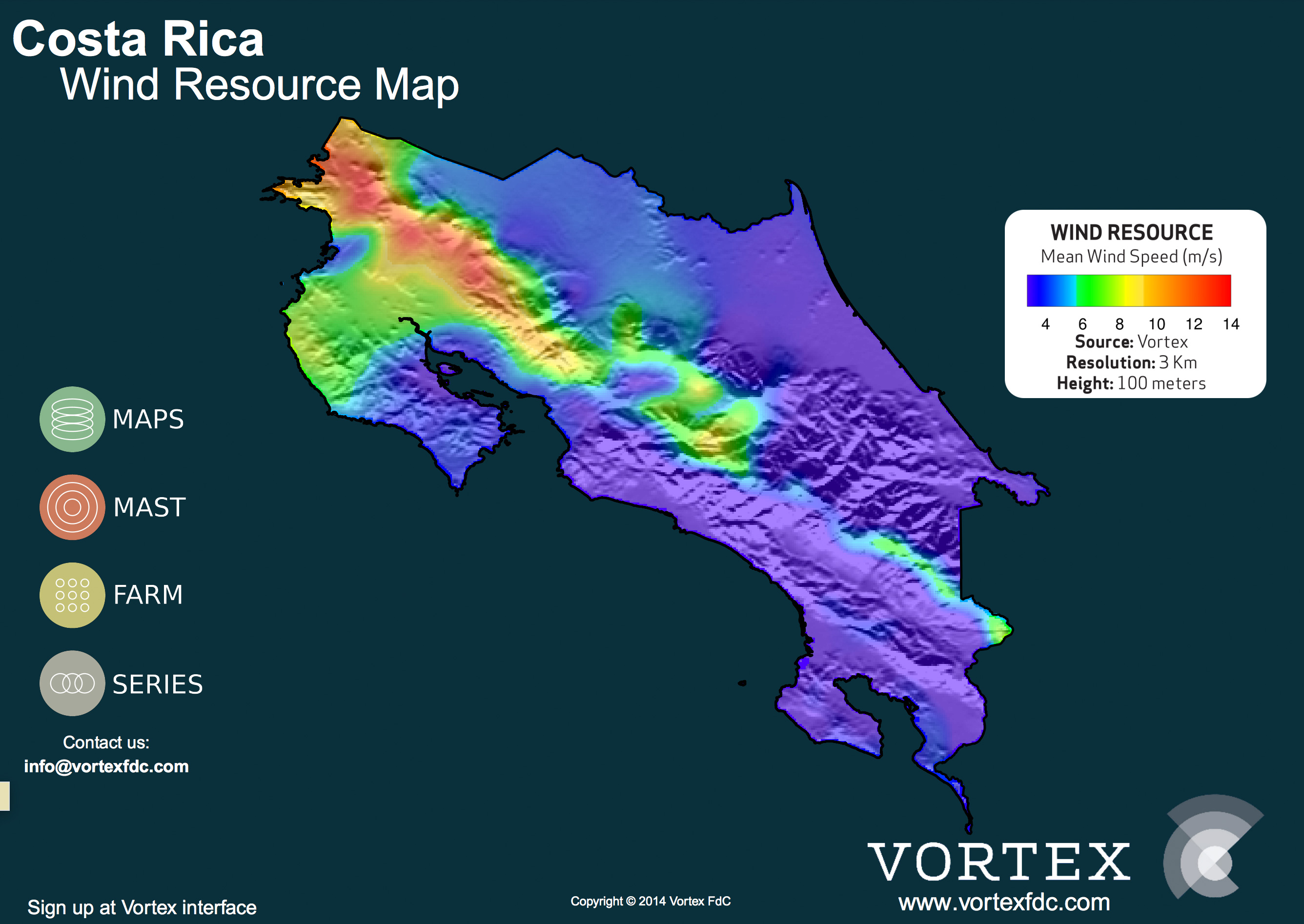 Costa Rica Wind Map Vortex