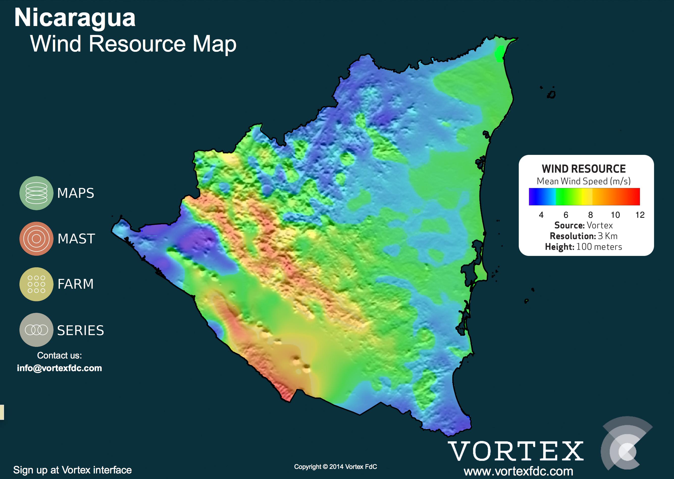 NICARAGUA WIND MAP - VORTEX
